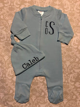 Blue monogram baby boy footie