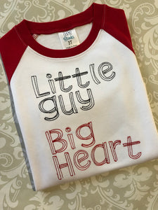 Little guy big heart embroidered raglan