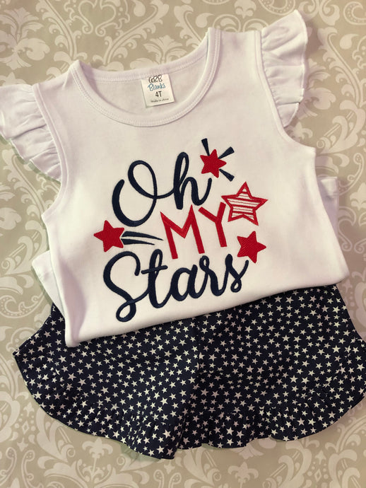 Oh My Stars Fourth of July shorts set