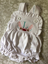 Crab monogram ruffle sun suit