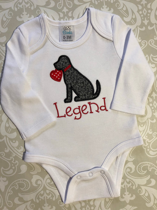 Black lab monogram valentine baby bodysuit