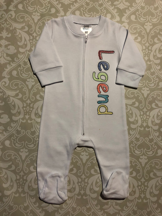 Monogram footie unisex baby sleeper