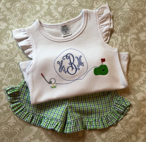 Girls monogrammed golf shorts set, girls golf birthday outfit