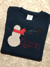 Vintage applique snowman monogram Christmas tee