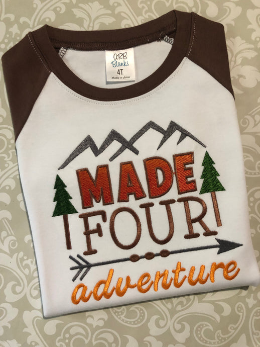 Made four adventure Fourth birthday raglan tee