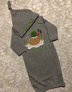 Mallard duck monogram baby gown and hat