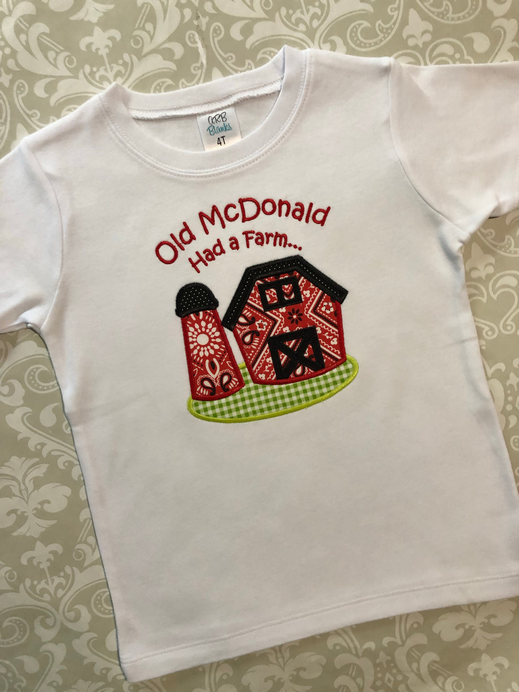 Old McDonald farm applique tee