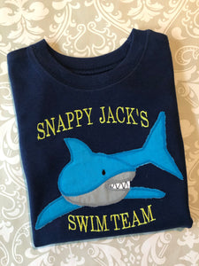 Snappy Jack's Swim team applique shark tee