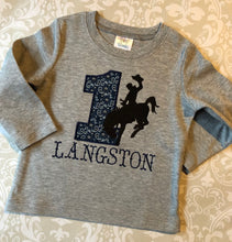 Monogrammed Bucking bronco applique birthday tee