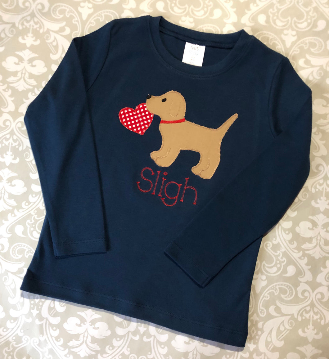 Dog with heart applique monogram boy valentine tee