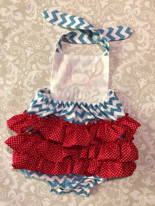 Applique Crab ruffle baby romper