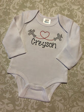 Airplane and heart monogram valentine bodysuit or tee