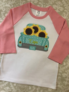 Monogram sunflower and truck applique fall raglan tee shirt