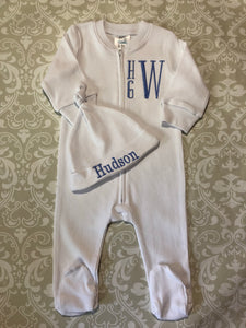 Baby boy monogram footie
