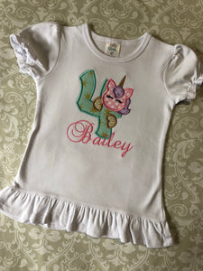 Unicorn applique birthday ruffle tee