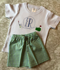 Boys monogrammed golf shorts set