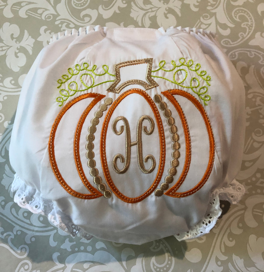 Pumpkin monogram baby bloomers