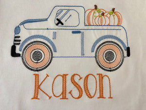 Monogram pumpkin truck fall tee