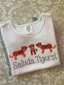 Tigers embroidered tee and orange paw print ruffle shorts set
