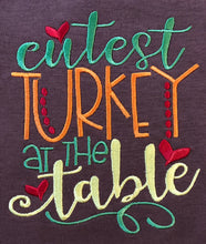 Cutest turkey at the table embroidered baby bodysuit with tail feathers