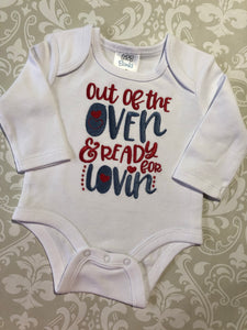 Out of the oven and ready for lovin embroidered baby bodysuit