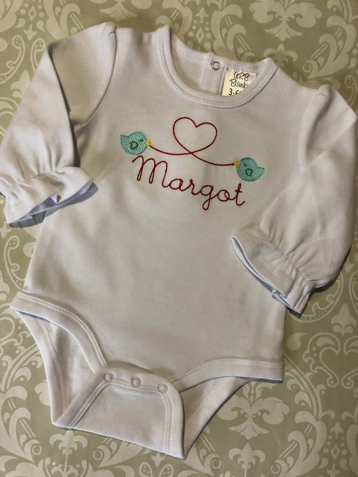 Baby bird and heart monogram valentine bodysuit