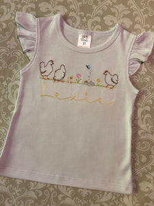 Monogram embroidered chicken shorts set
