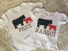 Cow applique monogram tee