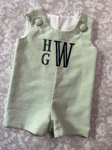 Boys Monogram seersucker shortalls