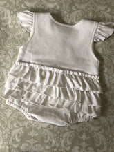 Monogram ruffle romper for baby and toddler girls