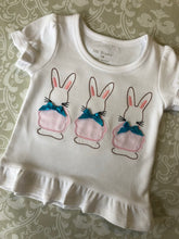 Vintage applique trio of bunnies Easter outfit