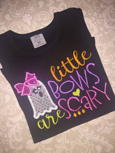 Little bows are scary applique ghost ruffle tee