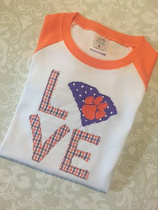 Love Tiger paw applique raglan