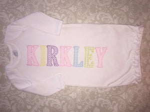 Monogram baby girl gown with embroidered lettering