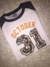 October 31 sport syle applique Halloween raglan