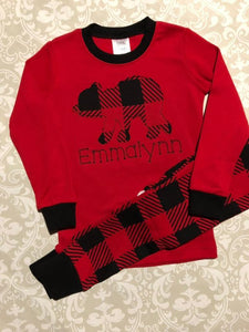 Buffalo Plaid Monogram Christmas Pajamas