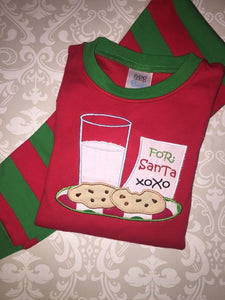 Milk and cookies for Santa applique Christmas pajamas