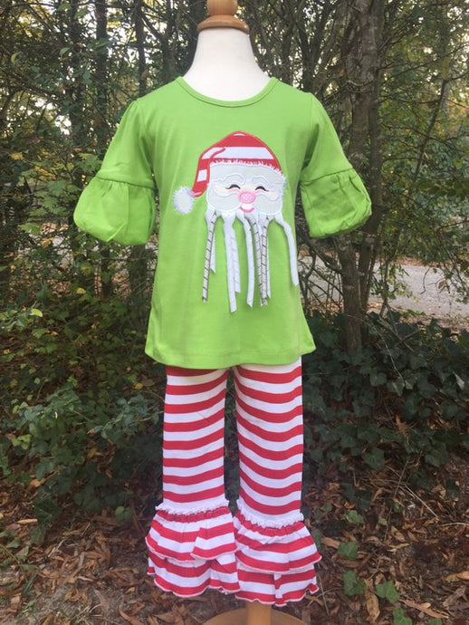 Ribbon beard applique Santa girls Christmas outfit