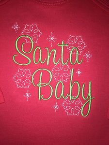 Santa Baby embroidered Christmas baby bodysuit