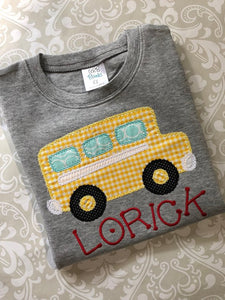 Monogram School bus applique tee