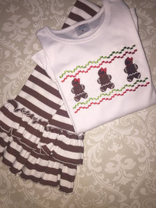 Faux smocked Gingerbread girl Christmas outfit and tee