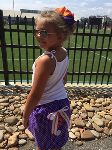 Purple Tiger tail applique skirt