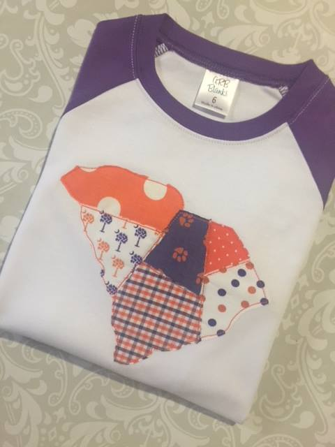 Purple and Orange patchwork gameday raglan