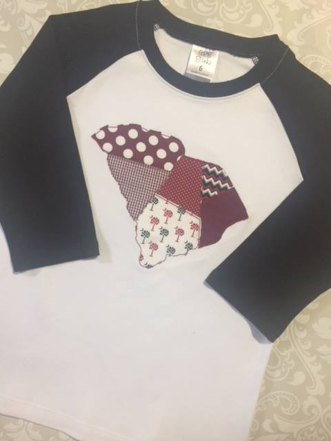 Gamecock South Carolina patchwork applique raglan