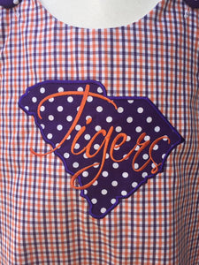 Tigers applique purple and orange gingham jumper