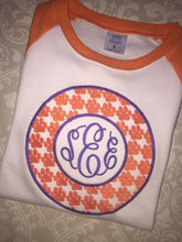 Tiger paw monogram orange raglan