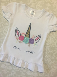 Unicorn glitter applique ruffle tee