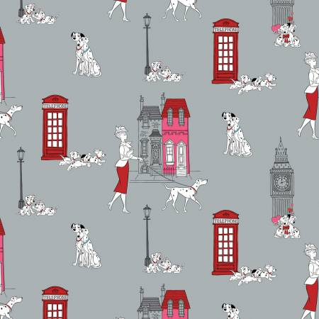 101 Dalmatians London Town Toile - Stone