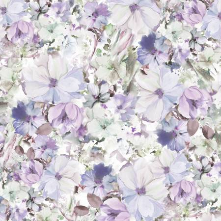 "108"" Wide Backing Arabesque Watercolor Floral - Blue/Violet"