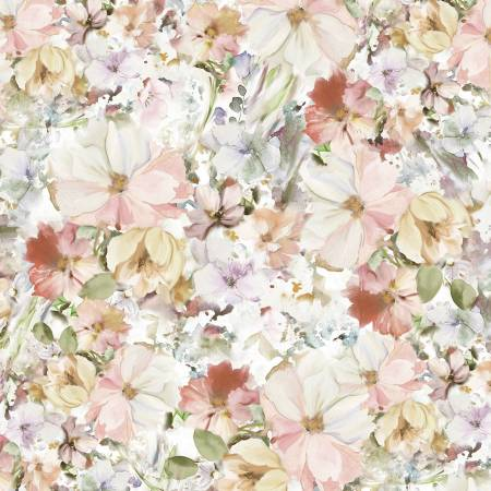 "108"" Wide Backing Arabesque Watercolor Floral - Pink"